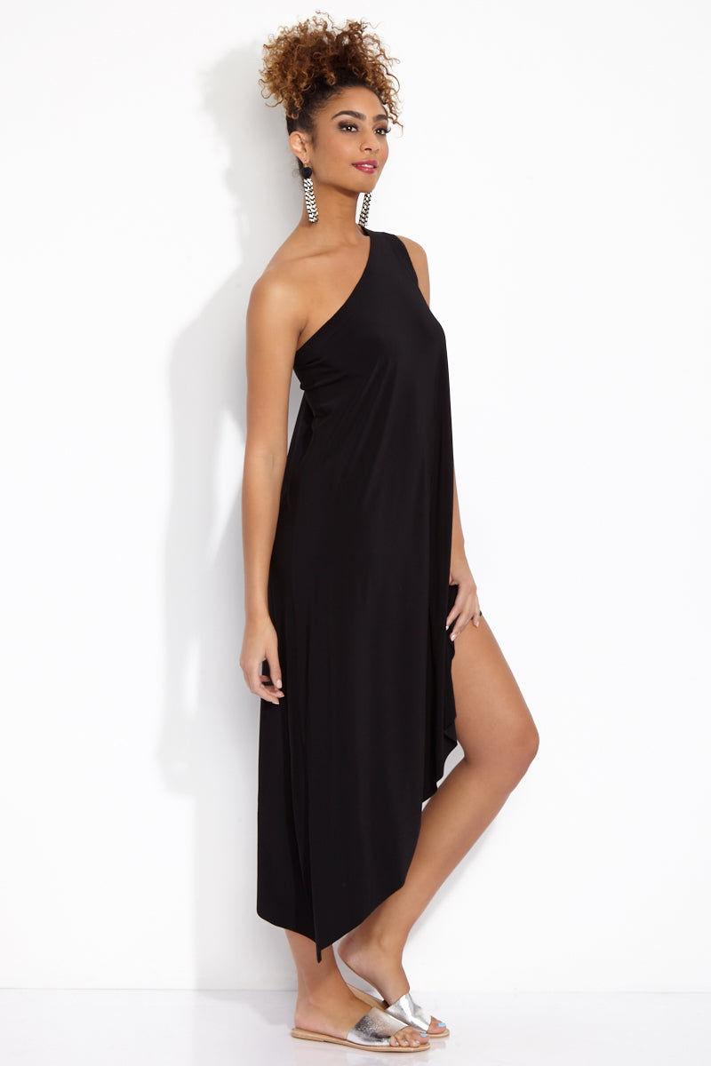 NORMA KAMALI One Shoulder Diagonal Tunic - Black Dress   Black  One Shoulder Diagonal Tunic Side View