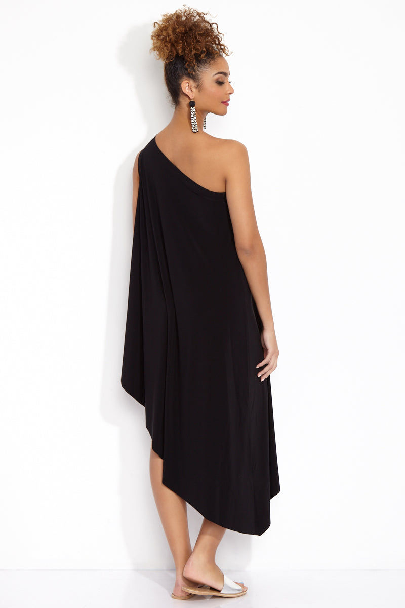 NORMA KAMALI One Shoulder Diagonal Tunic - Black Dress   Black  One Shoulder Diagonal Tunic Back View