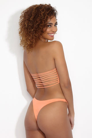 WILDASTER Hannah Bandeau Top - Peach Sorbet Bikini Top | Peach Sorbet | Wildaster Hannah Bandeau Top - Orange Back View Bandeau Bikini Top Front Strappy Cut Out  Multi String Back  Non-Adjustable  Seamless Stitching Double Lined  80% Nylon / 20% Spandex