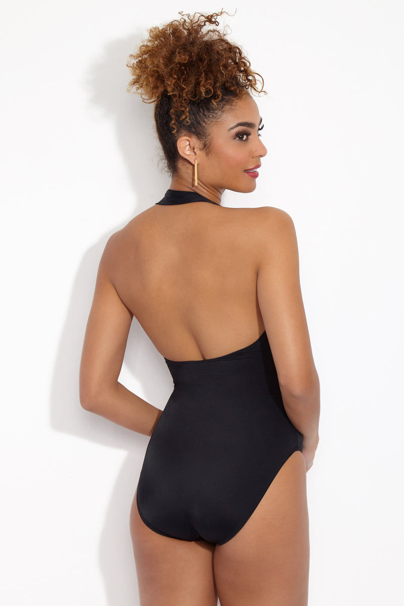 NORMA KAMALI Halter Sweetheart Mio One Piece Swimsuit - Black One Piece | Black| Norma Kamali Halter Sweetheart Mio One Piece Swimsuit Back View Sweetheart neckline Halter neck High cut leg Ruched detail Moderate coverage as seen on Chelsea Manning in American Vogue