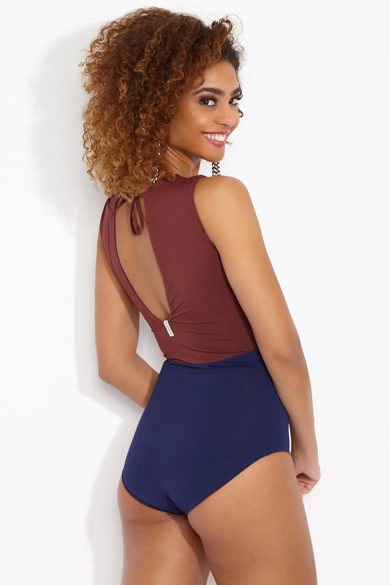 MYMARINI Outfit Reversible High Neck Sleeveless One Piece Swimsuit - Navy Blue/Rosewood Red One Piece | Navy Blue/Rosewood Red| MYMARINI Outfit Reversible High Neck Sleeveless One Piece Swimsuit - Navy Blue/Rosewood Red - Brick red and navy color block reversible one-piece swimsuit. Made of high-quality sustainable fabric from Italy, designed in Germany, and sourced and made in Europe using fair labor. Back View