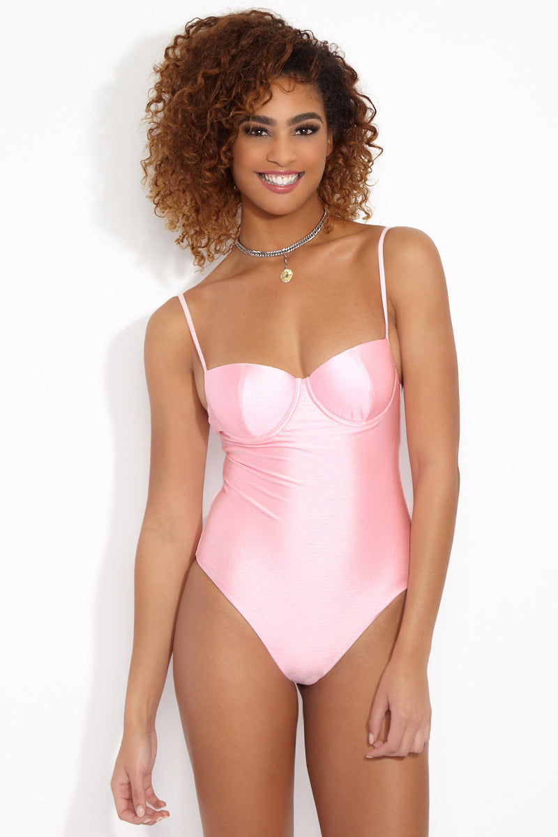 LOLLI Gidget Underwire One Piece Swimsuit - Cotton Candy Pink One Piece | Cotton Candy Pink|  Gidget Underwire One Piece - Cotton Candy Pink. Light cotton candy pink one piece with underwire cups, adjustable shoulder straps, and cheeky coverage.