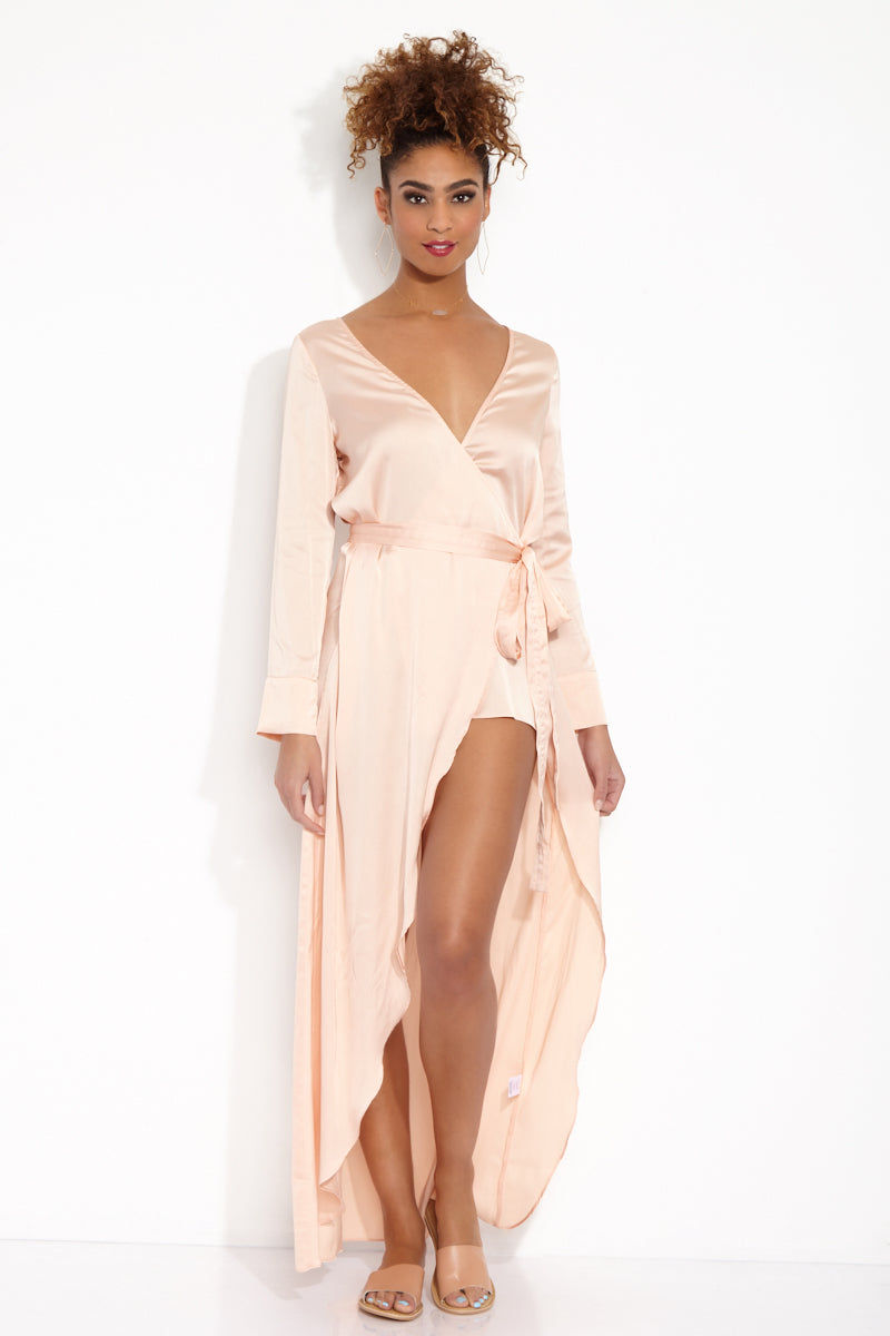 For Love And Lemons La Lydia Long Sleeve Maxi Wrap Dress Petal Pink