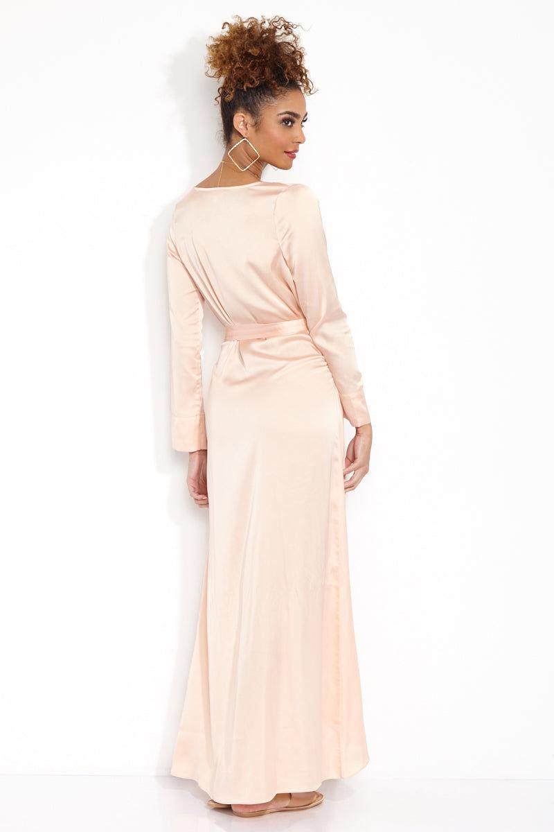 FOR LOVE AND LEMONS La Lydia Long Sleeve Maxi Wrap Dress - Petal ...
