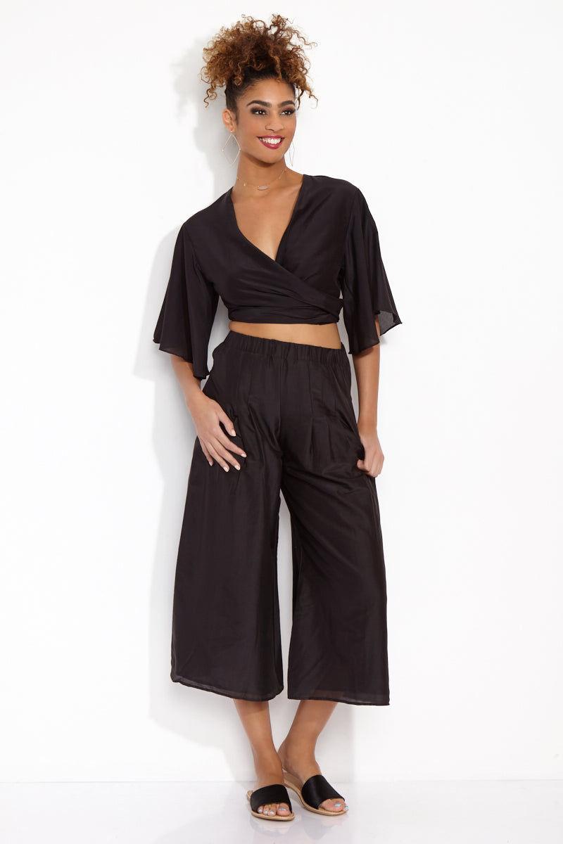 SOAH Coco Crop Pants - Black Pants | Black|SOAH  Coco Crop Pants Front View in Black. Culotte style.   Flowy cotton/silk fabric with elastic waist.