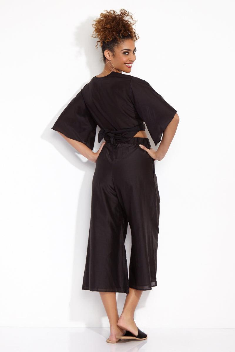 SOAH Coco Crop Pants - Black Pants | Black| SOAH  Coco Crop Pants Back View in Black. Culotte style.   Flowy cotton/silk fabric with elastic waist.