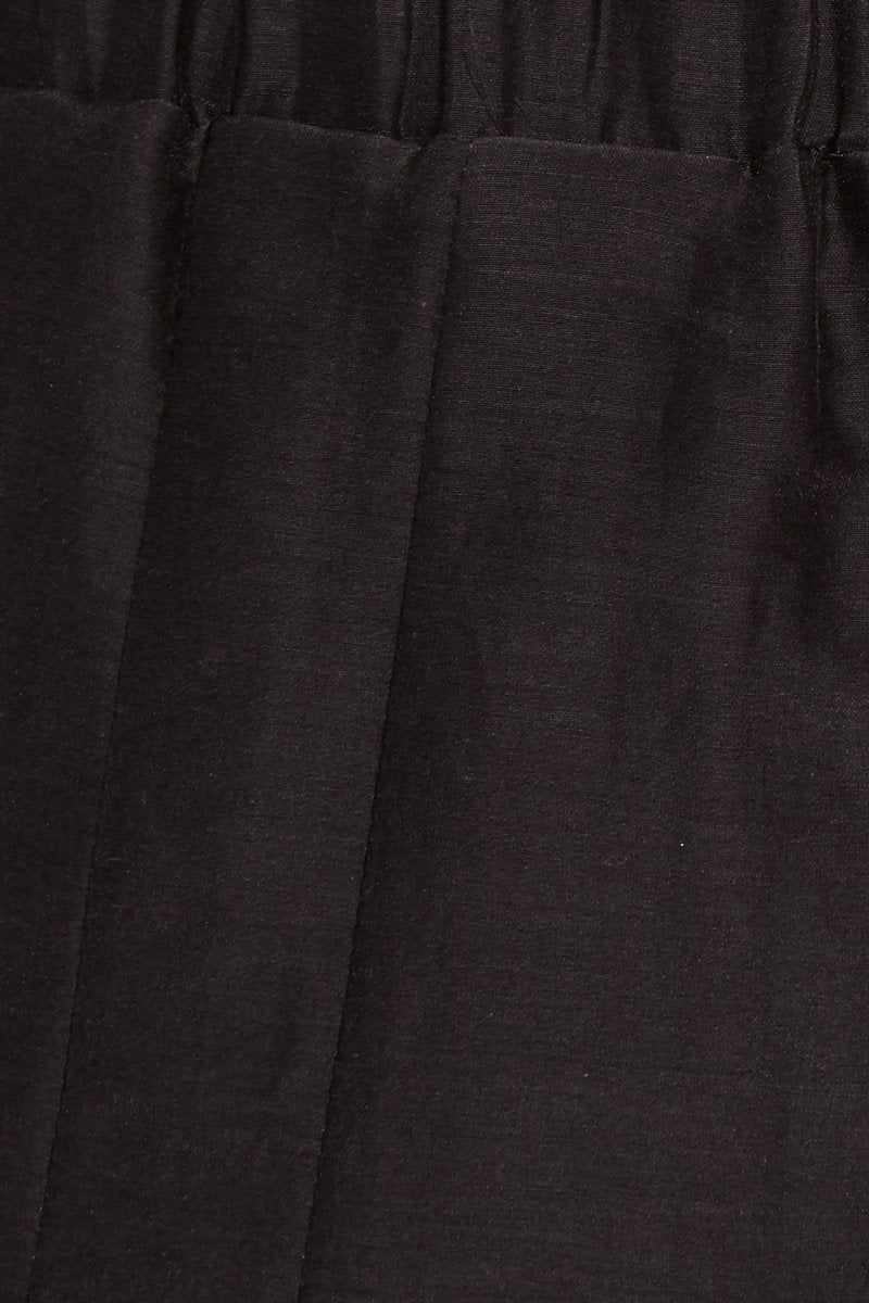 SOAH Coco Crop Pants - Black Pants | Black| SOAH Coco Crop  Pants  Close Up of Silky/Cotton Black Fabric