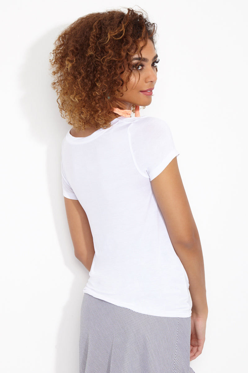 ETE APPARELS Brunch So Hard Scoop Neck Tee - White Top   White  Ete Apparels Brunch So Hard Scoop Neck Tee - White Back View Basic Tee  Scoop Neckline  Short Sleeves Gray Font in All Caps Fabric: Micro Modal