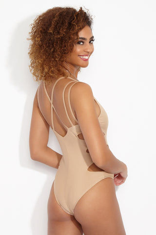 KEVA J Au Natural One Piece One Piece | Nude| Keva J Au Natural One Piece Back View Sexy Deep-V Plunging Neckline One Piece Swimsuit Asymmetrical Side Cut Outs High Cut Leg Center Vertical Seam Strappy Crisscross Back Cheeky Coverage