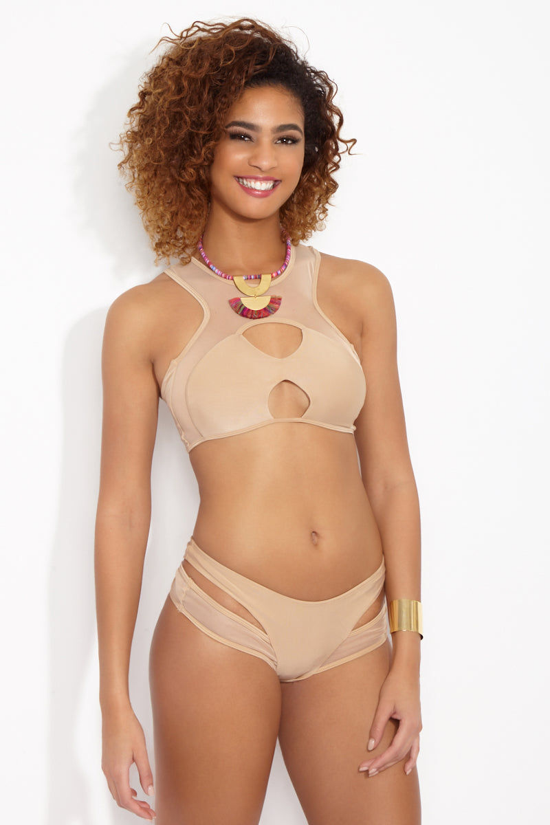 KEVA J Exposed Mesh Top Bikini Top | Nude| Keva J Exposed Mesh Top Front View High Neck Warm Beige Bikini Top Front and Back Cut Outs Racerback Fit Mesh Inserts
