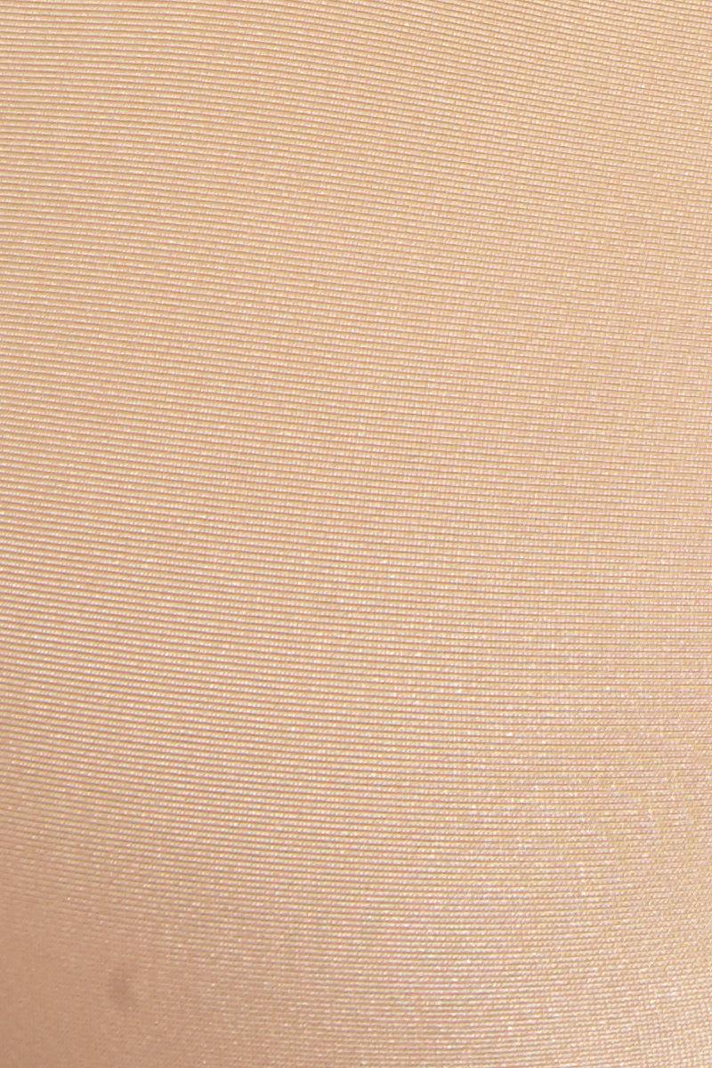 KEVA J Exposed Mesh Top Bikini Top | Nude| Keva J Exposed Mesh Top Detail View High Neck Warm Beige Bikini Top Front and Back Cut Outs Racerback Fit Mesh Inserts