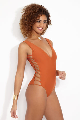 MIA MARCELLE Avies One Piece Swimsuit - Curry One Piece | Curry| Mia Marcelle Orange Avies Strappy Sides One Piece Side View Plunging V neckline  & back  Strappy side details  Embossed beading along back Moderate Coverage