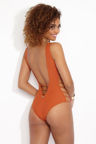 MIA MARCELLE Avies One Piece Swimsuit - Curry One Piece | Curry| Mia Marcelle Orange Avies Strappy Sides One Piece Back View Plunging V neckline  & back  Strappy side details  Embossed beading along back Moderate Coverage
