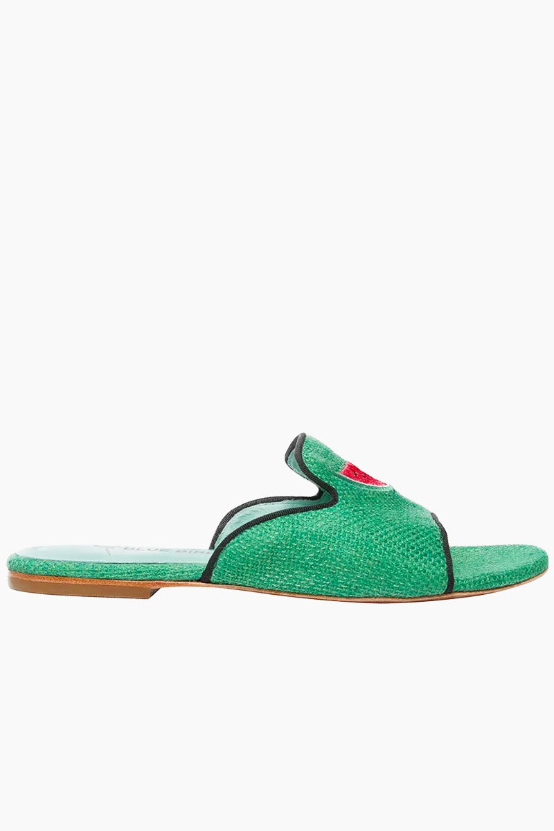 BLUE BIRD Watermelon Shower Flats - Green Sandals |  Green| Blue Bird Watermelon Shower Flats - Green.Features:  Playful gree watermelon flats Produced in Brazil with Italian assembly process Leather lining  Guarantee the maximum comfort of the insole 100% leather sole Heel- 0.27 inch The Blue Bird's are produced with natural leather, from the lining to the sole, guaranteeing its durability. Front View