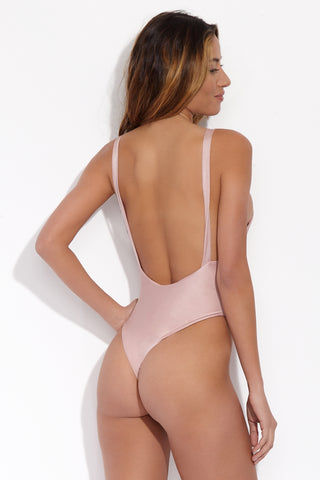 SLATE SWIM Prism One Piece - Rose One Piece | Rose| Slate Swim Prism One Piece Back View Plunging Deep-V Neckline Faux Wrap Seam High Cut Leg Non Adjustable Shoulder Straps Open Back Thong Coverage