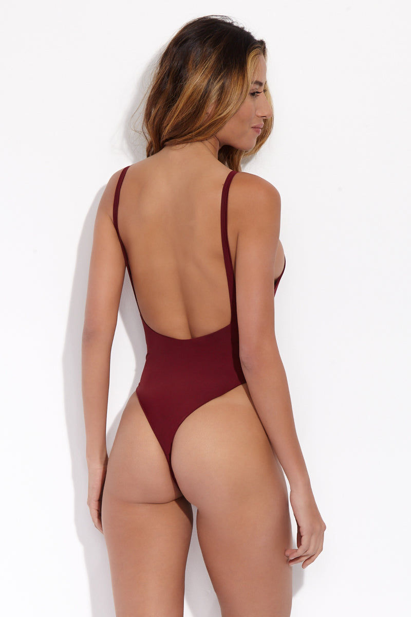 SLATE SWIM Prism One Piece - Wine One Piece | Wine| Slate Swim Prism One Piece Back View Deep-V Neckline High Cut Leg Wide Non-Adjustable Shoulder Straps Thong Rear Coverage