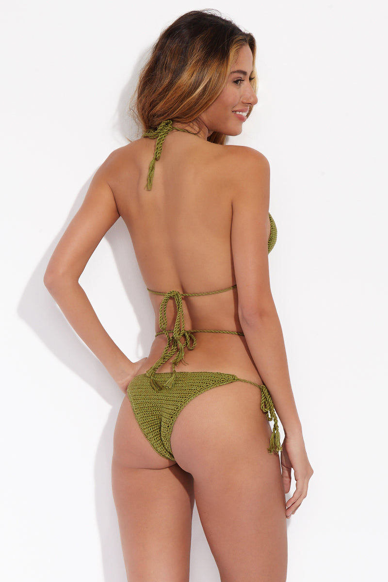 SARAVAH HANDMADE Strappy Bottom Bikini Bottom | Green| Saravah Handmade Strappy Bottom