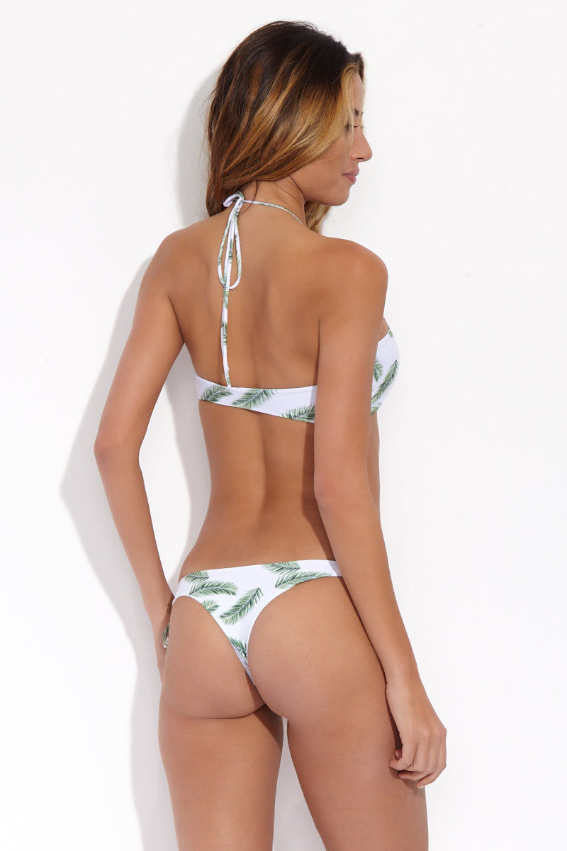 NIRVANIC SWIM Naila Top Bikini Top | Palm| Nirvanic Swim Naila Top - back view Bright white lace-up front bandeau bikini top with tropical green palm print.