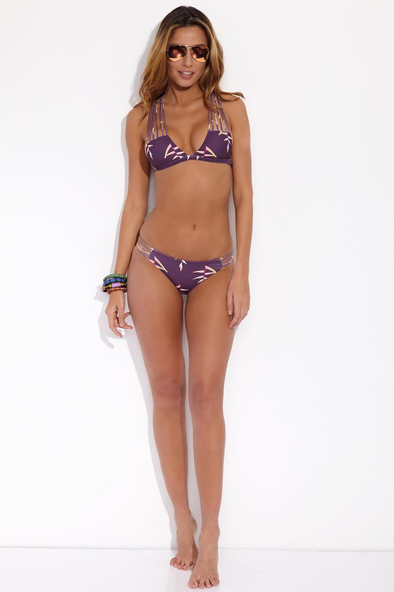 NIRVANIC SWIM Taiyo Top - Heliconia Bikini Top | Heliconia| Nirvanic Swim Taiyo Top - full body view Flirty multi-string purple tropical flower print bikini top.