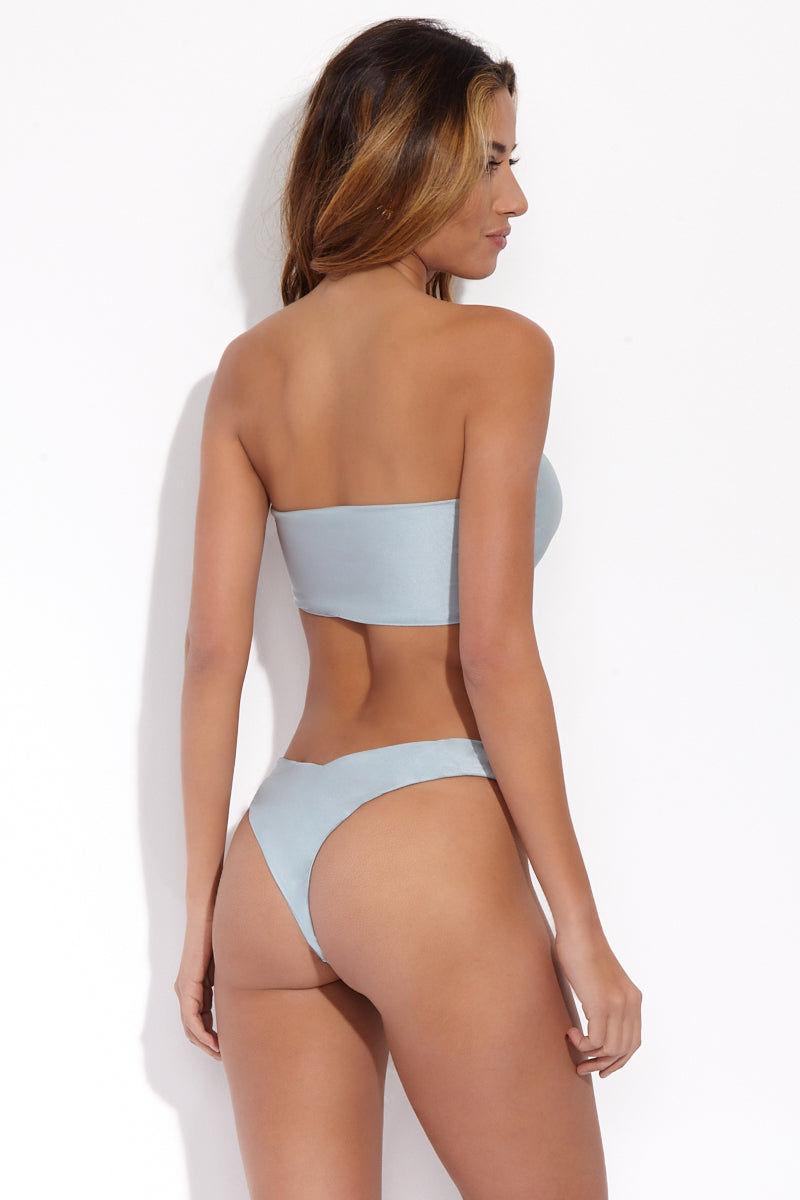 SLATE SWIM Steele Top - Powder Bikini Top | Powder| Slate Swim Steele Top Back View Strapless Bandeau Bikini Top Front Knot Pull-Over Style