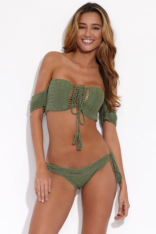 BEACH JOY Crochet Tie Side Bikini Bottom - Matcha Latte Bikini Bottom | Matcha Latte| Beach Joy Crochet Tie Side Bikini Bottom - Matcha Latte. Front View. Double Crochet stitched bikini bottom. Body ruched with cheeky coverage and flattering tie side strings. Cutouts at rear and front sides adding a sexy see through look.