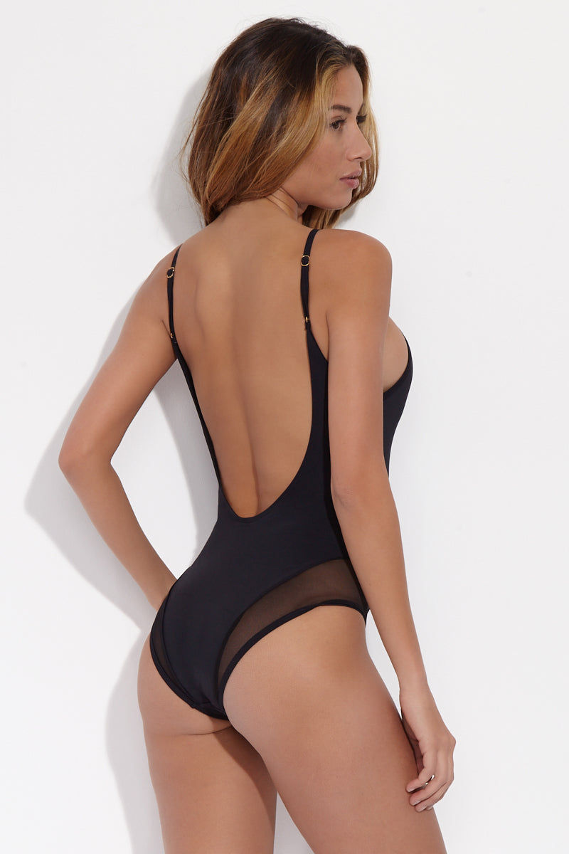 BEACH JOY High Neck Mesh One Piece - Licorice One Piece | Licorice| Beach Joy High Neck Mesh One Piece - Licorice. Back Side View. Stretchy, solid one piece with mesh cut-outs in classic black color Deep Scoop Open Back.