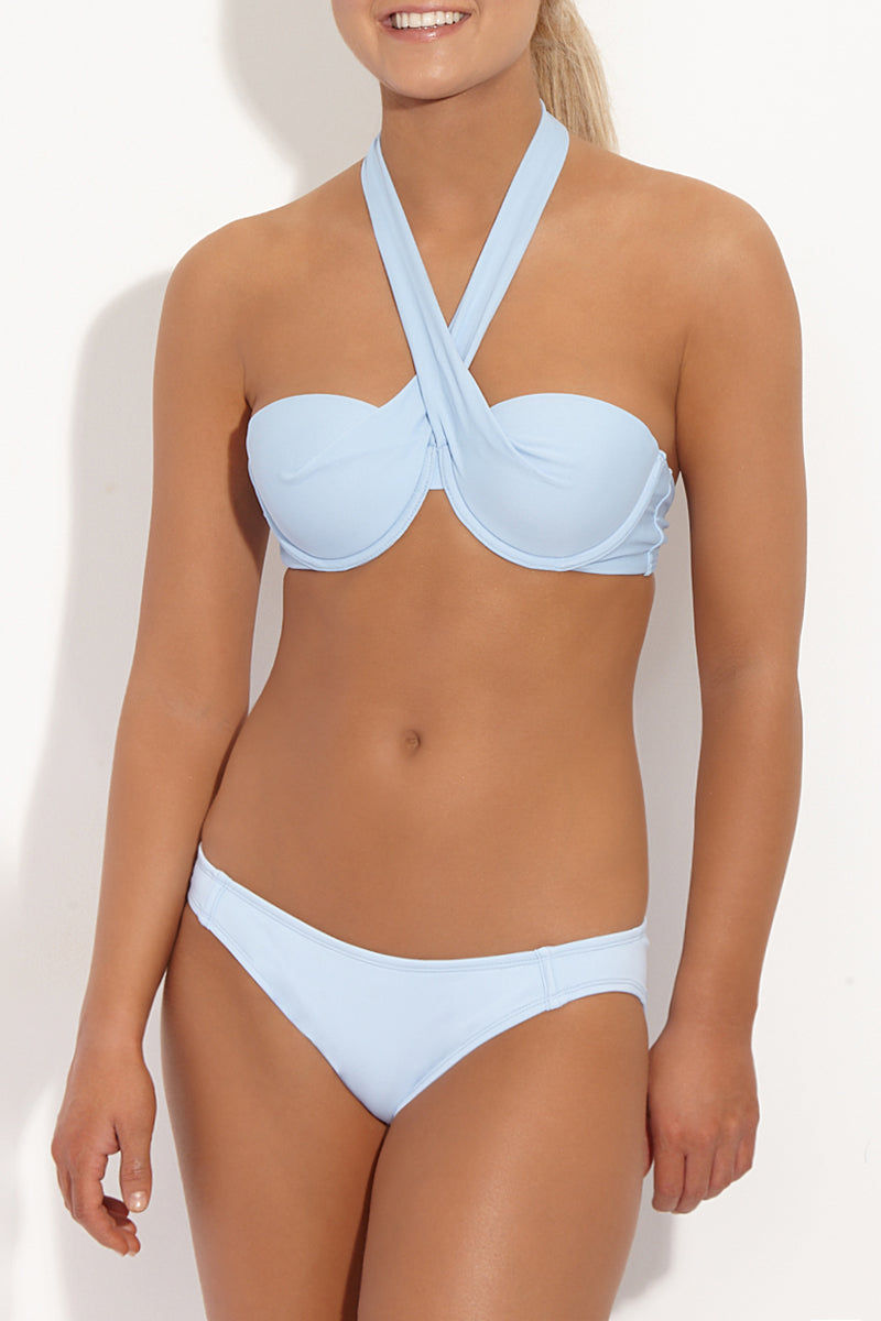 BETH RICHARDS Naomi Low Rise Full Bikini Bottom - Chambray Blue Bikini Bottom | Chambray Blue| Beth Richards Naomi Low Rise Full Bikini Bottom - Chambray Blue. Features: Low Rise Moderate Coverage. Fully lined.  Front View