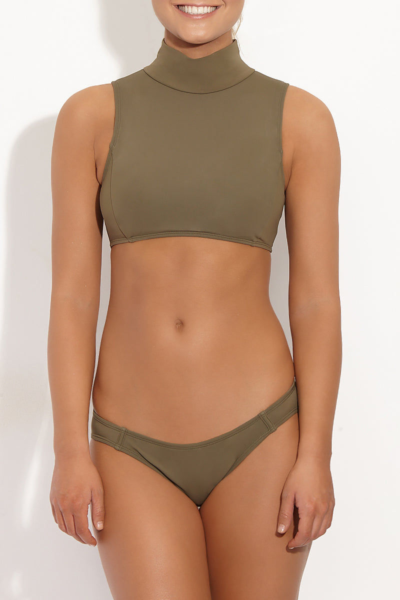 BETH RICHARDS Maud Mesh High Neck Bikini Top - Khaki Green Bikini Top | Khaki Green| Beth Richards Maud Mesh High Neck Bikini Top - Khaki Green. High neckline. Elastic stretch fit. Contrast mesh panel accent in back Front View