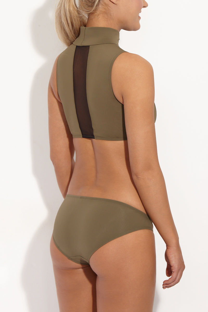 BETH RICHARDS Maud Mesh High Neck Bikini Top - Khaki Green Bikini Top | Khaki Green| Beth Richards Maud Mesh High Neck Bikini Top - Khaki Green. High neckline. Elastic stretch fit. Contrast mesh panel accent in back Back View