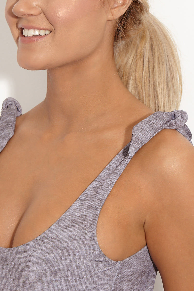 BETH RICHARDS Coco Shoulder Tie One Piece Swimsuit - Grey Heather One Piece | Grey Heather| Beth Richards Coco One Piece Coco Shoulder Tie One Piece Swimsuit - Grey Heather/Black. Features : Scoop neckline. Adjustable shoulder ties. Moderate coverage. Fully lined