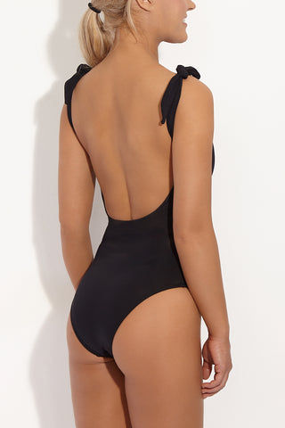 BETH RICHARDS Coco Shoulder Tie One Piece Swimsuit - Black One Piece | Black| Beth Richards Coco Shoulder Tie One Piece Swimsuit - Black. Features: Scoop neckline. Adjustable shoulder ties. Fully lined. Back View