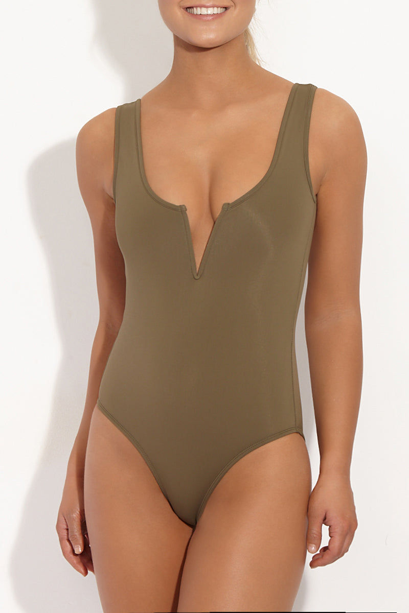 BETH RICHARDS Ines V Wire Tank One Piece Swimsuit - Khaki Green One Piece | Khaki Green| Beth Richards Ines V Wire Tank One Piece Swimsuit - Khaki Green Wired V front. Stretch fit. Moderate coverage bottom. Front View