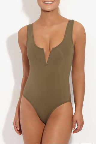 BETH RICHARDS Ines Tank One Piece Swimsuit - Khaki One Piece | Khaki|Beth Richards Ines Tank One Piece Swimsuit - Khaki . Front View. Wired V front. Stretch fit. Moderate coverage bottom.