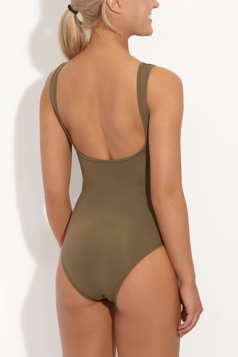BETH RICHARDS Ines V Wire Tank One Piece Swimsuit - Khaki Green One Piece | Khaki Green| Beth Richards Ines V Wire Tank One Piece Swimsuit - Khaki Green Wired V front. Stretch fit. Moderate coverage bottom. Back View
