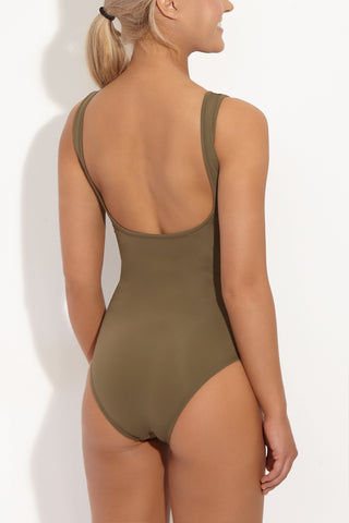 BETH RICHARDS Ines Tank One Piece Swimsuit - Khaki One Piece | Khaki|Beth Richards Ines Tank One Piece Swimsuit - Khaki . Back View. Wired V front. Stretch fit. Moderate coverage bottom.