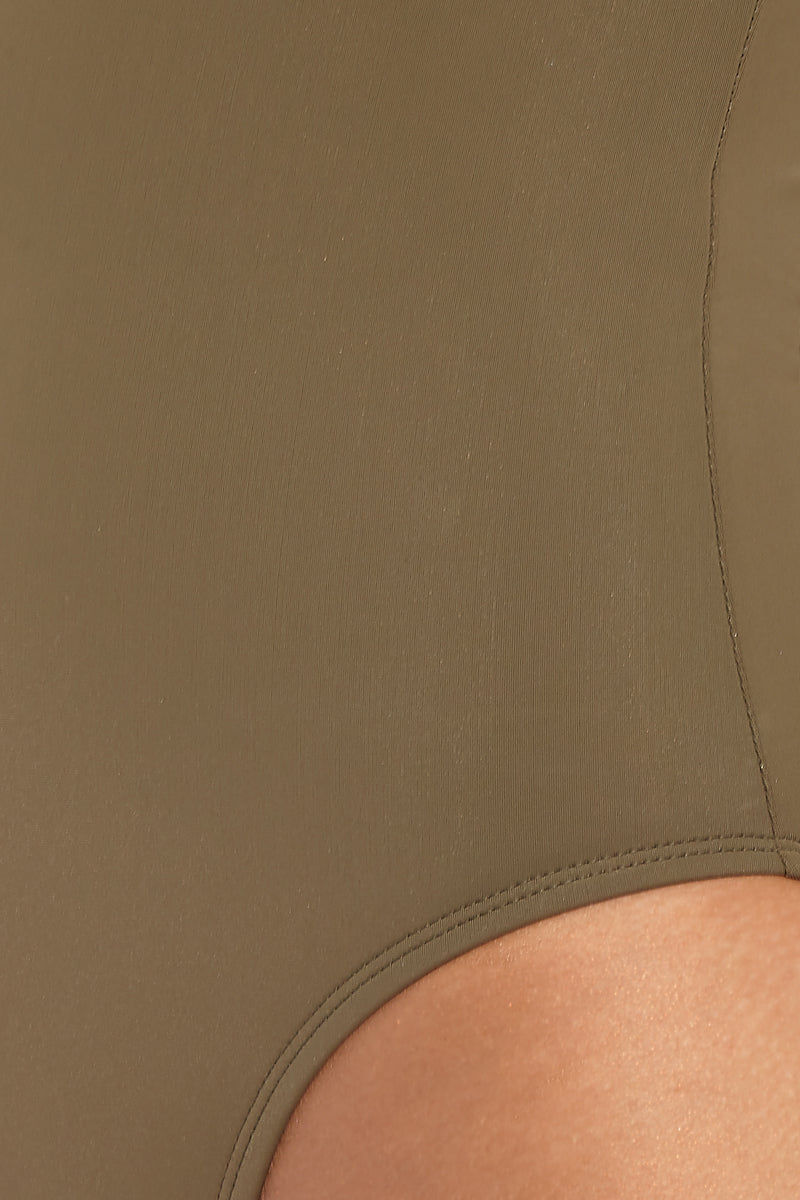 BETH RICHARDS Ines Tank One Piece Swimsuit - Khaki One Piece |  Khaki|Beth Richards Ines Tank One Piece Swimsuit - Khaki . Detailed View. Wired V front. Stretch fit. Moderate coverage bottom.