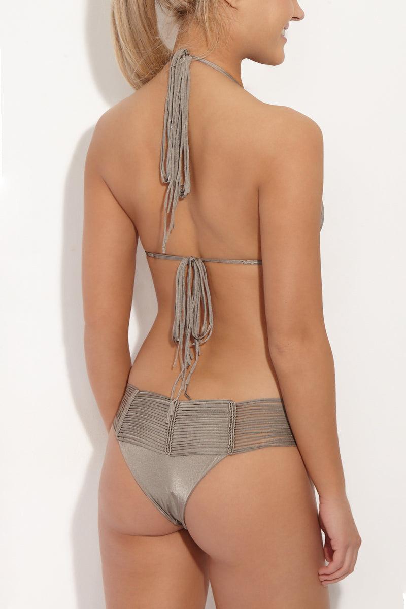INDAH Fallen Macrame Cheeky Bikini Bottom - Taupe Bikini Bottom | Taupe| Indah Fallen Macrame Bottom