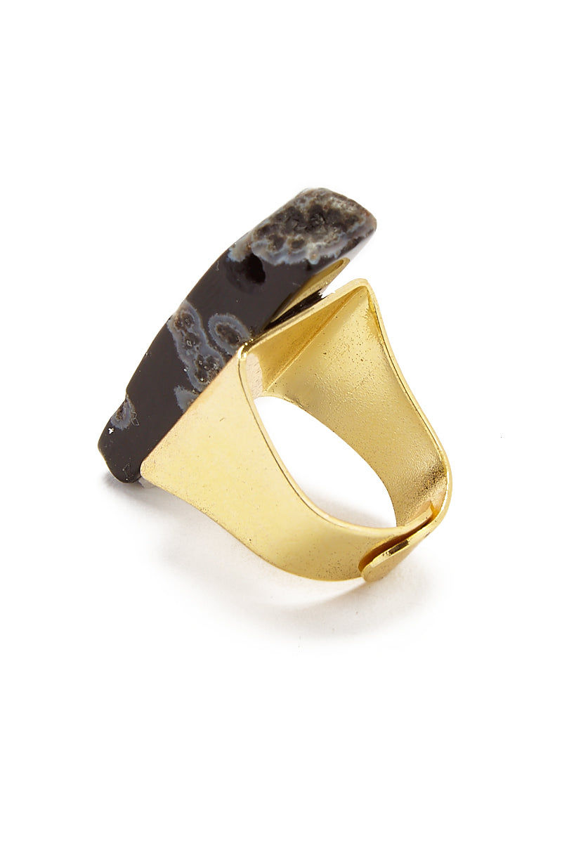 MASHALLAH Black Agate Ring - Gold Jewelry | Black Agate Ring - 14k Gold plated Made with a base of 100% handmade recycled semi-precious metal sourced from landfills by the careful hands of villagers in Ghana