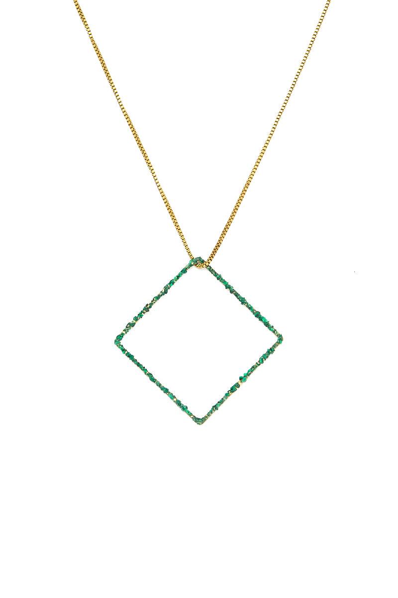 MASHALLAH Square Drop Necklace - Malachite Jewelry | Square Drop Necklace - Malachite
