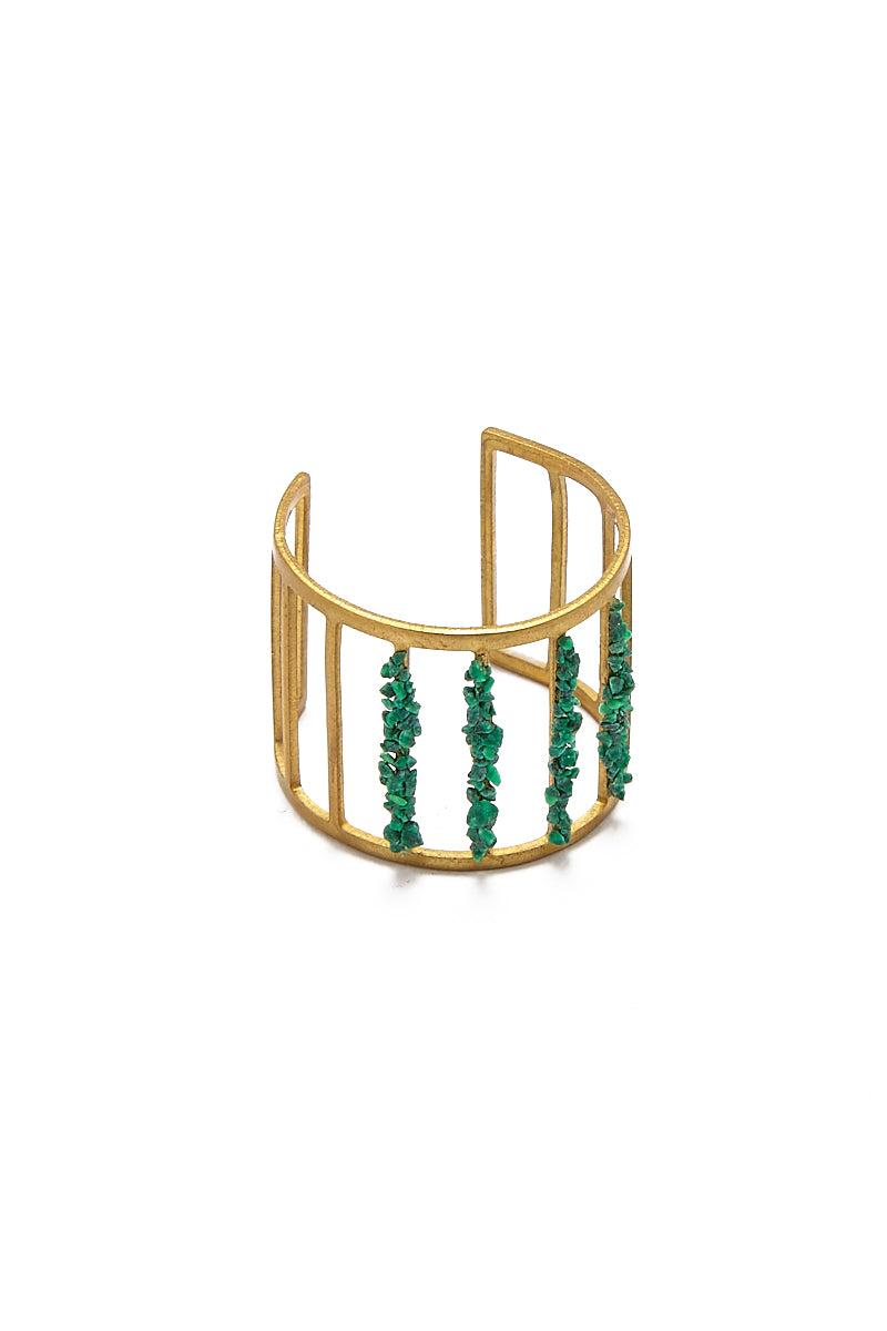 MASHALLAH Cage Cutout Ring - Malachite Jewelry | Cage Cutout Ring - Malachite Front View