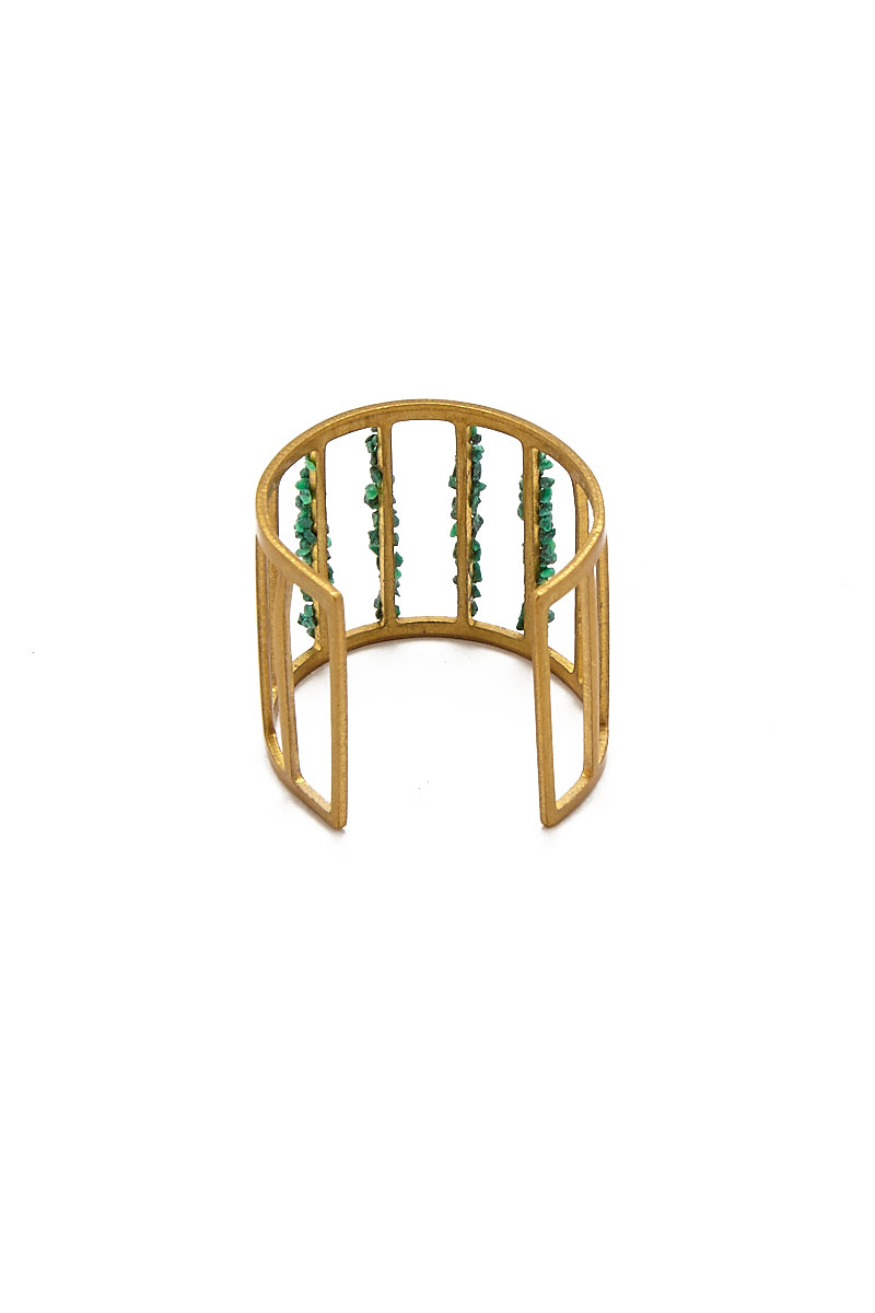 MASHALLAH Cage Cutout Ring - Malachite Jewelry | Cage Cutout Ring - Malachite Back View