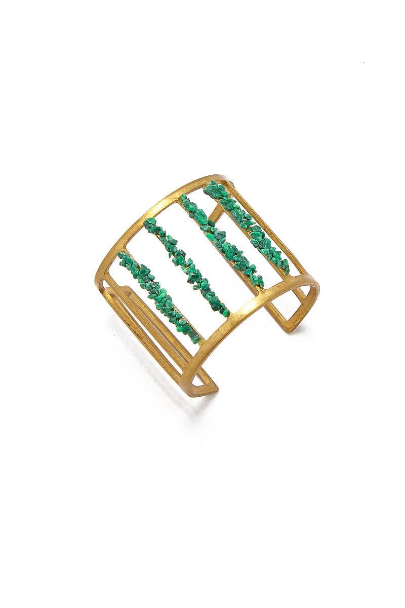 MASHALLAH Cage Cutout Ring - Malachite Jewelry | Cage Cutout Ring - Malachite Top View