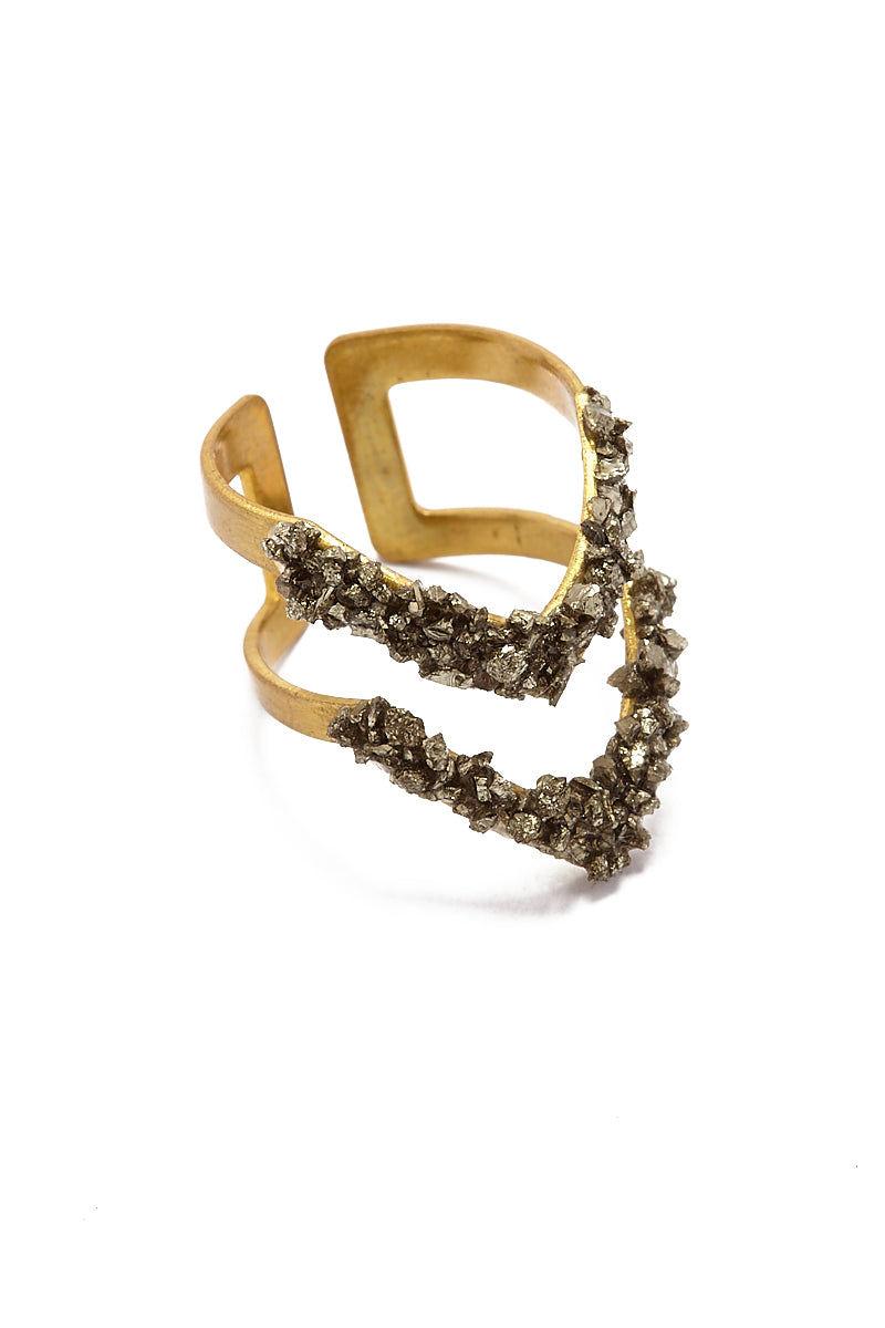 MASHALLAH Pyrite Double V Ring Jewelry | Mashallah Pyrite Double V Ring