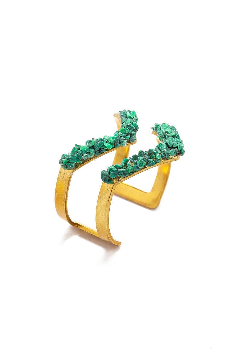 MASHALLAH Malachite Double V Ring Jewelry | Mashallah Malachite Double V Ring