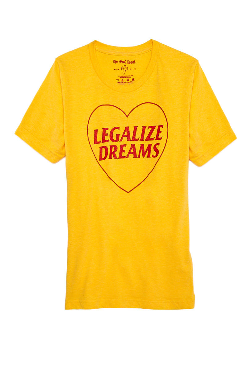 TOP KNOT GOODS Legalize Dreams Tee Top | Yellow| Top Knot Goods Legalize Dreams Tee