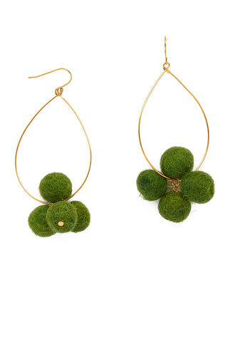 YOCHI Oval Hoop Pom Pom Earrings - Moss Green Jewelry | Moss Green| YOCHI Pom Pom Earrings