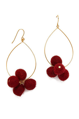 YOCHI Oval Hoop Pom Pom Earrings - Sangria Red Jewelry | Sangria Red| YOCHI Oval Hoop Pom Pom Earrings
