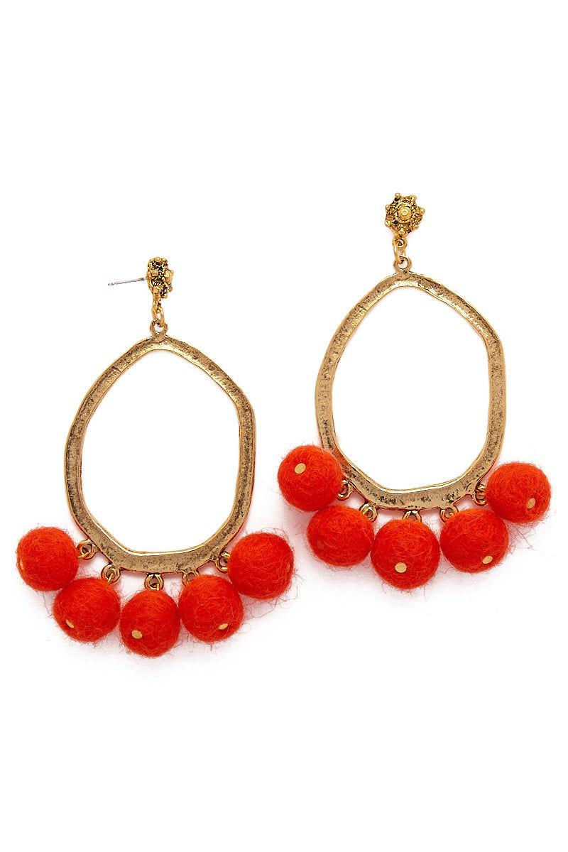 YOCHI Chandelier Pom Pom Earrings - Chili Pepper Red Jewelry   Chili Pepper Red  YOCHI Chandelier Pom Earrings