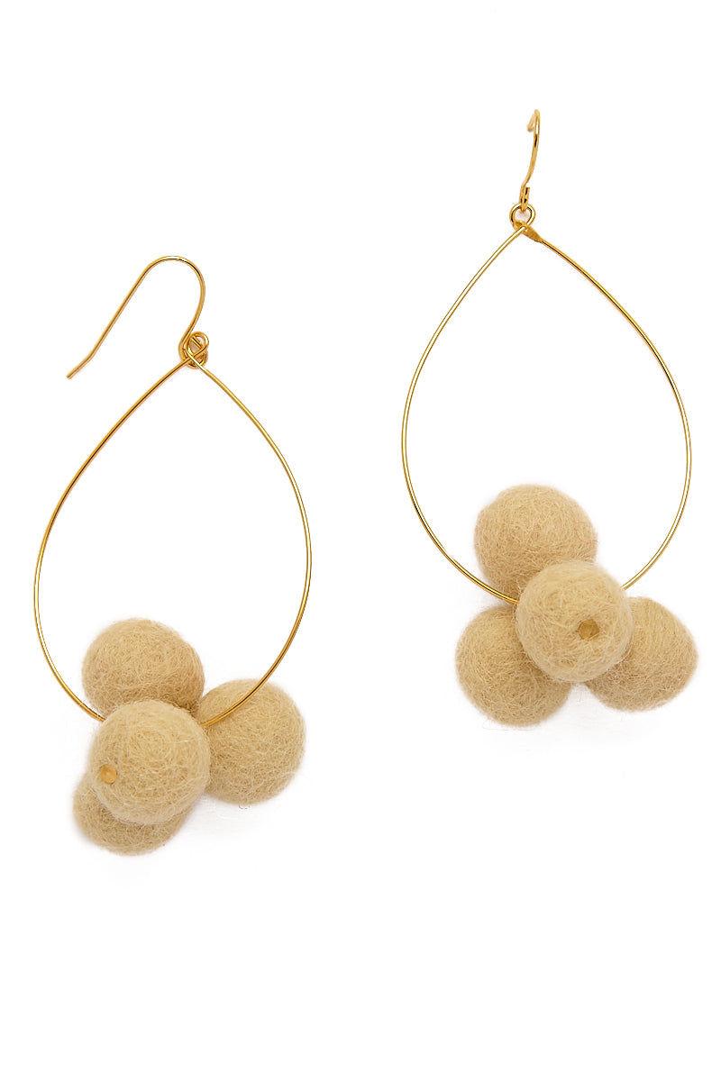 YOCHI Oval Hoop Pom Pom Earrings - Latte Jewelry | Late | YOCHI Oval Hoop Pom Pom Earrings in Latte