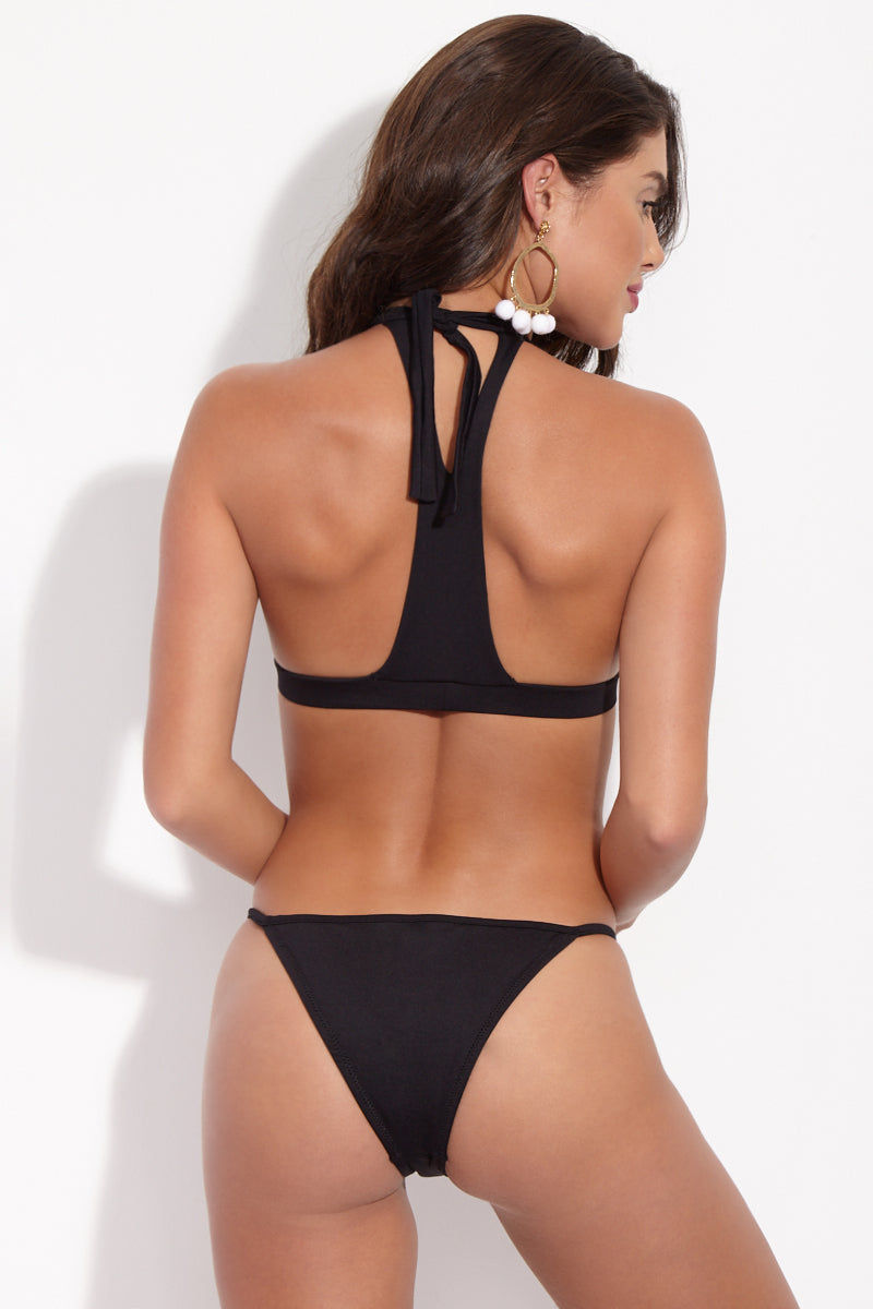 LA GOTTA Poppy High-Neck Cut-Out Bikini Top - Black Bikini Top | Black| La Gotta Poppy High Neck Cut Out Top - Black Back View High Neck Bikini Top Cut Out Cleavage Detail Racerback Halter Ties At Neck